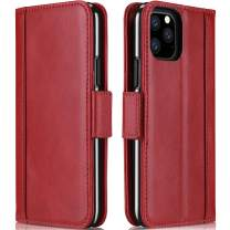 Procase iPhone 11 Pro Max Genuine Leather Case, Vintage Folio Flip Case with Kickstand Card Holders Leather Wallet Case for iPhone 11 Pro Max 2019 -Red