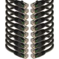 iMBAPrice (10 Pack) Black 1/2 Feet (0.5ft / 6 inch) Molded UTP Cat6 Ethernet Network Patch Cable RJ45 M/M
