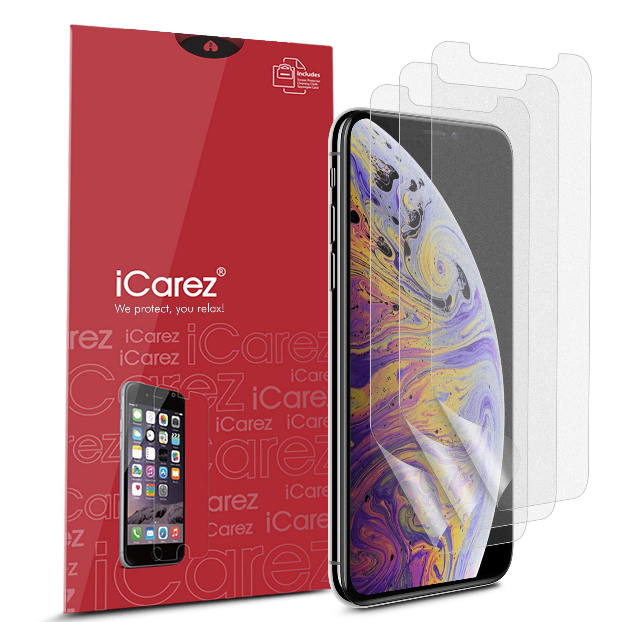 iCarez [HD Anti Glare] Matte Screen Protector for iPhone 11 Pro Max/iPhone Xs Max 6.5-Inch [3 Pack] (Case Friendly) Premium No Bubble Easy to Apply with Hinge Installation