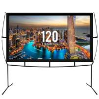 Fast Assembly Design - No Tools Needed - Jumbo 120 Inch 16: 9 Portable Outdoor and Indoor Movie Theater Front and Rear Projector Screen with Stand Legs