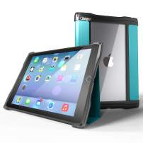 UZBL iPad 9.7 6th Generation / 5th Generation Case, Rugged Folio Ultra-Slim Lightweight Protective Case with Magnetic Cover and Clear Open Back, Aqua