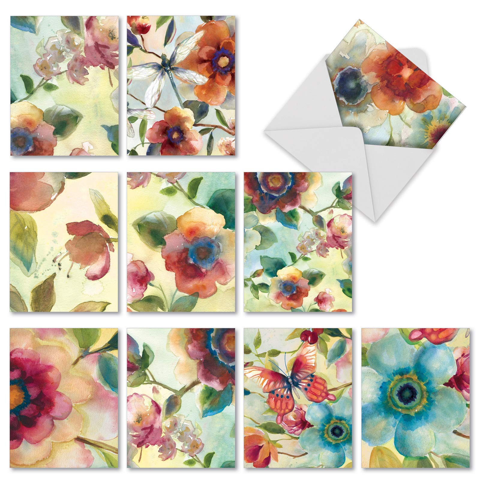 The Best Card Company - 10 Watercolor All Occasion Blank Note Cards (4 x 5.12 Inch) - Colorful Paintings of Flowers - Watercolor Botanicals M3314