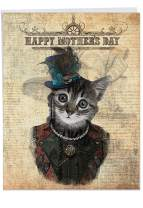 The Best Card Company - Jumbo Mother's Day Card (8.5 x 11 Inch) - Big Animal Greeting Notecard - Steampunk Cats J6554DMDG
