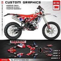 Kungfu Graphics Custom Decal Kit for Beta 250 300 Xtrainer 2016 2017 2018 2019 2020, Red Black White