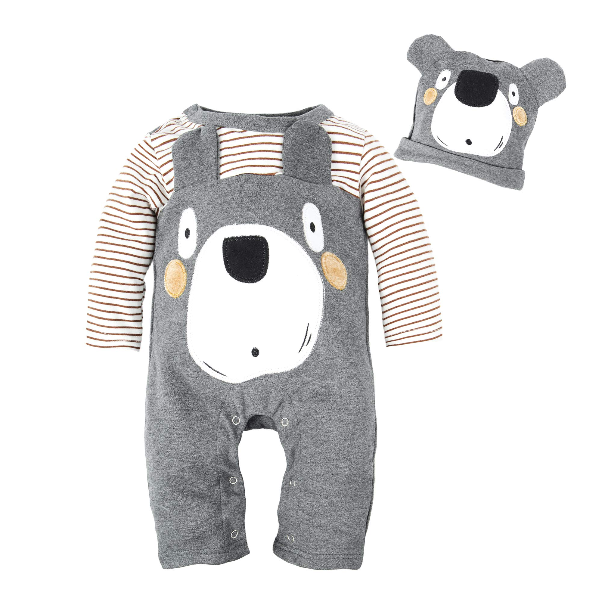 BIG ELEPHANT Baby Boys' 1 Piece Cute Animal Long Sleeve Romper Jumpsuit with Hat