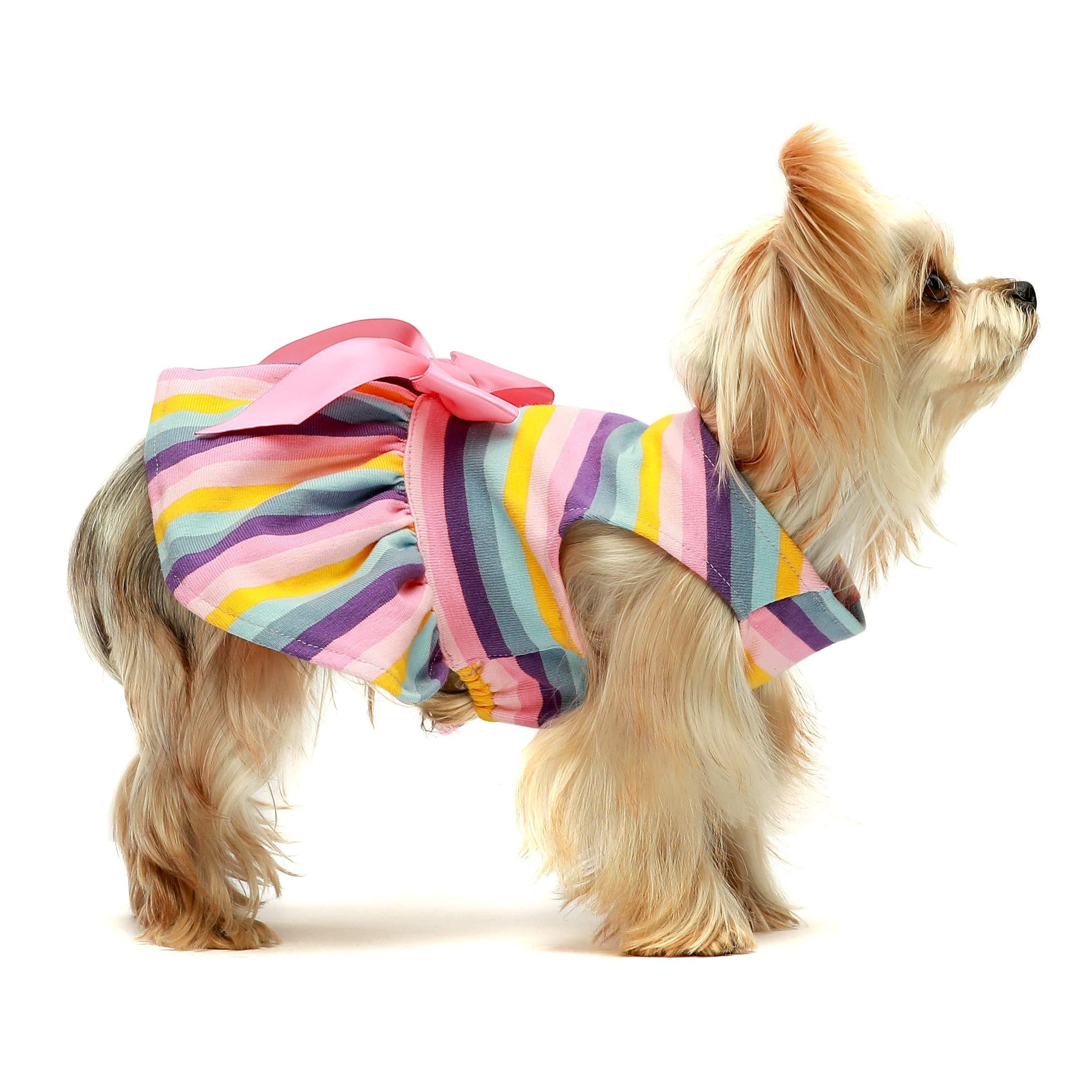 Fitwarm 100% Cotton Dog Dresses Pet Clothes for Doggie Striped Dress Cat Vest Puppy Shirts Colorful Rainbow Pink