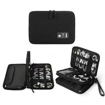 Electronics Organizer, Jelly Comb Electronic Accessories Cable Organizer Bag Waterproof Travel Cable Storage Bag for Charging Cable, Cellphone, Mini Tablet (Up to 7.9'') and More (All Black)