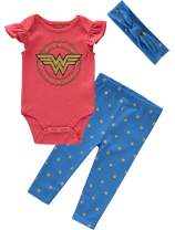Infant Girls Wonder Woman Bodysuit Pant Headband Set