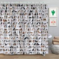 "FAITOVE Many Dogs Shower Curtain Sets Fabric, Polyester Waterproof Bathroom Decor Accessories with Hooks 71""(W) x 79""(H)"