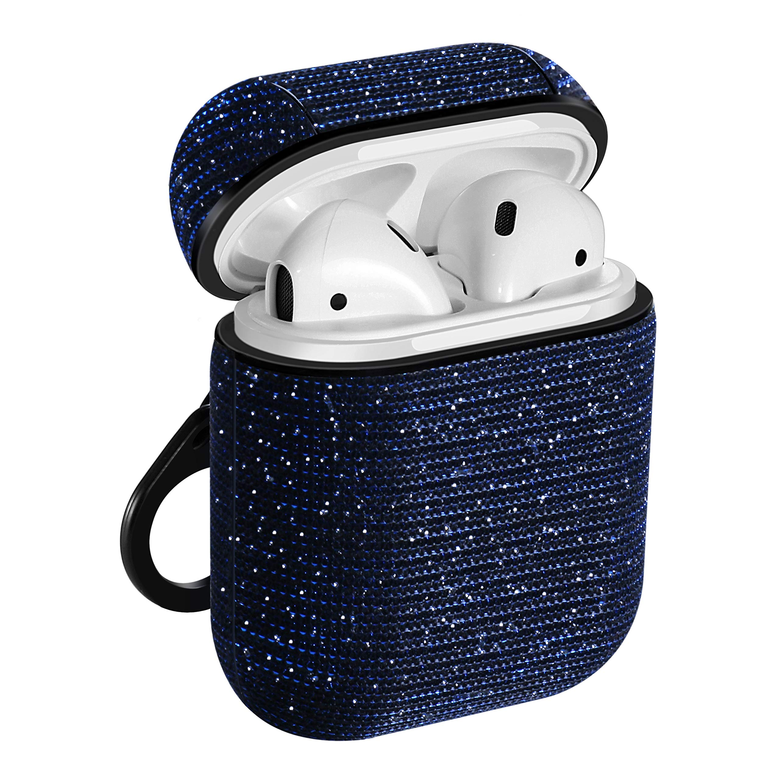 AirPods Case,Libra Gemini Compatible for AirPods Case Cover Bling Glitter Leather Fabric Protective Cover and Keychain for AirPods Charging Case2 & 1(Blue)