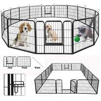 SUNCOO Dog Pen, Heavy Duty Folding Large Metal Dog Fence, Cat Puppy Pet Exercise Playpen, Indoor Outdoor 16 Panels 24 in Anti-Rust Pet Crate Cage Barrier Kennels