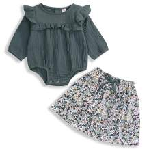 Toddler Newborn Baby Girls Clothes Set Long Sleeve Spring Skirt Sets Solid Ruffle Romper + Floral Skirts Infant Outfits 2Pcs
