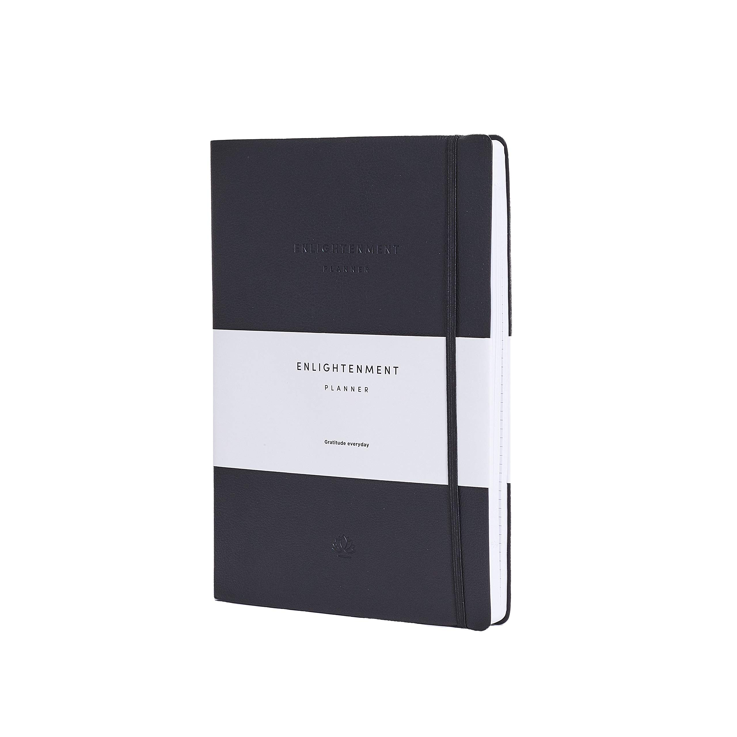 Enlightenment Planner   Dated 2020 Planner   Personal Life Journal   Meditation Organizer   Check List – 7 x 10-inch PU Leather Cover – Flexible Binder – Self-Reflection Journal - Black