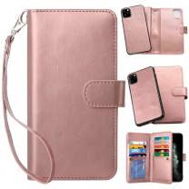 Vofolen 2-in-1 Case for iPhone 11 Pro Max Case Wallet Card Holder Slot Detachable Hybrid Protective Slim Hard Shell Magnetic PU Leather Folio Pocket Flip Cover for iPhone 11 Pro Max 6.5 Rose Gold