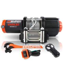 ZESUPER 4500-lb Waterproof Winch Waterproof IP67 Electric Winch with Hawse Fairlead, with Both Wireless Handheld Remote (Steel Cable)