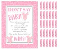 Don't Say Baby! -The Baby Shower Clothespin Game for Guests to Wear Pink Girl with Mini Wooden Clothespins Party Favors For 30 Players (Pink- Girl)