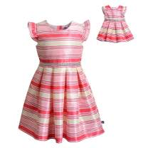 Dollie & Me Cap Sleeve Dress Set with Matching Outfit-Girl & 18 Inch Doll Clothes