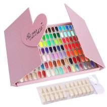 126 Nail Colors Nail Gel Polish Display Chart with False Tips, Professional Nail Salon Nail Art Sample Swatches Book Display Board for Nail Practice Nail Design