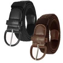 JINIU Canvas Elastic Fabric Woven Stretch Multicolored Braided Belts