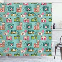 """Ambesonne Retro Shower Curtain, Cheerful Hipster Pattern with Old Analogue Photo Cameras Doodle Style Film Equipment, Cloth Fabric Bathroom Decor Set with Hooks, 70"""" Long, Almond Green"""