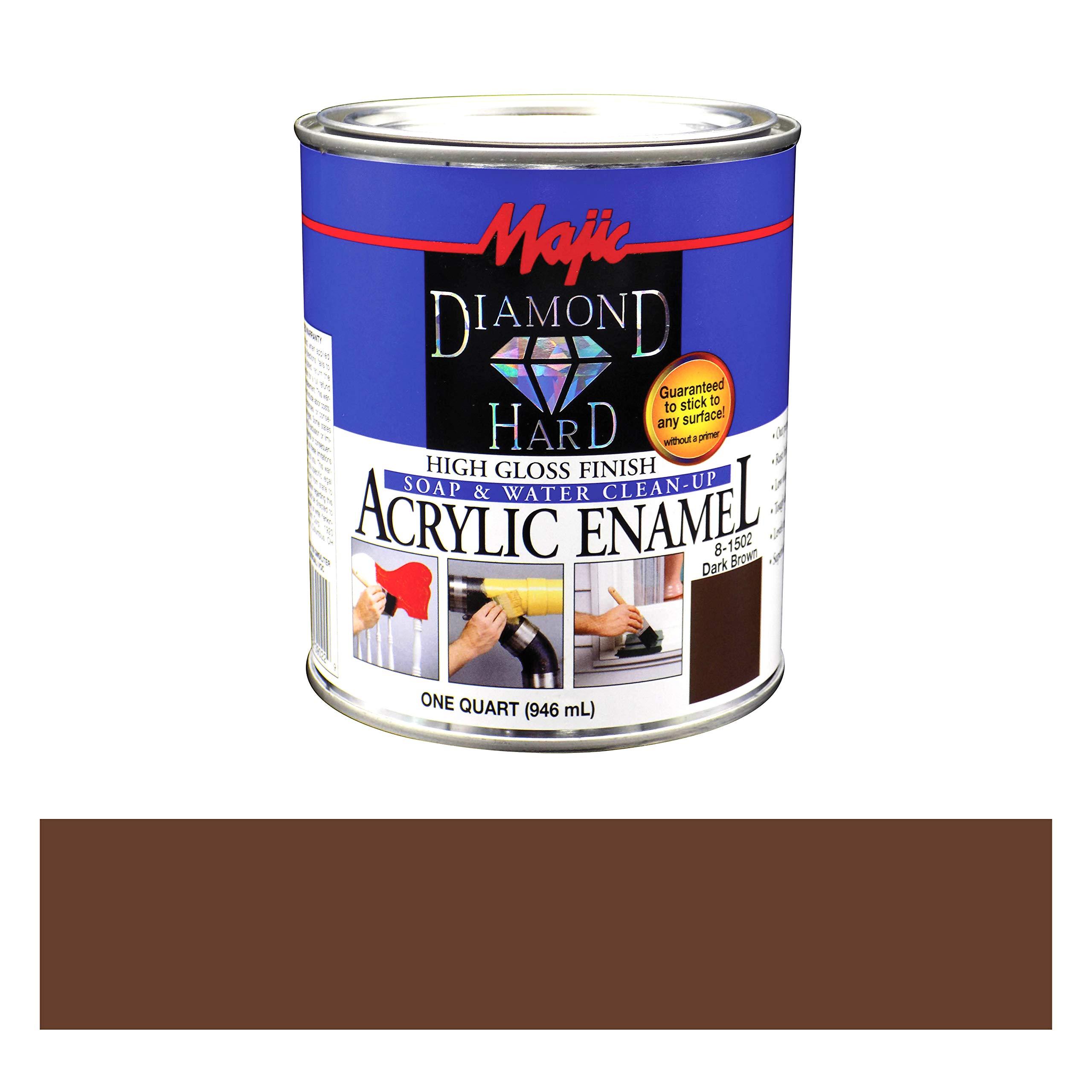 Majic Paints 8-1502-2 Diamond Hard Acrylic Enamel High Gloss Paint, 1- Quart, Dark Brown