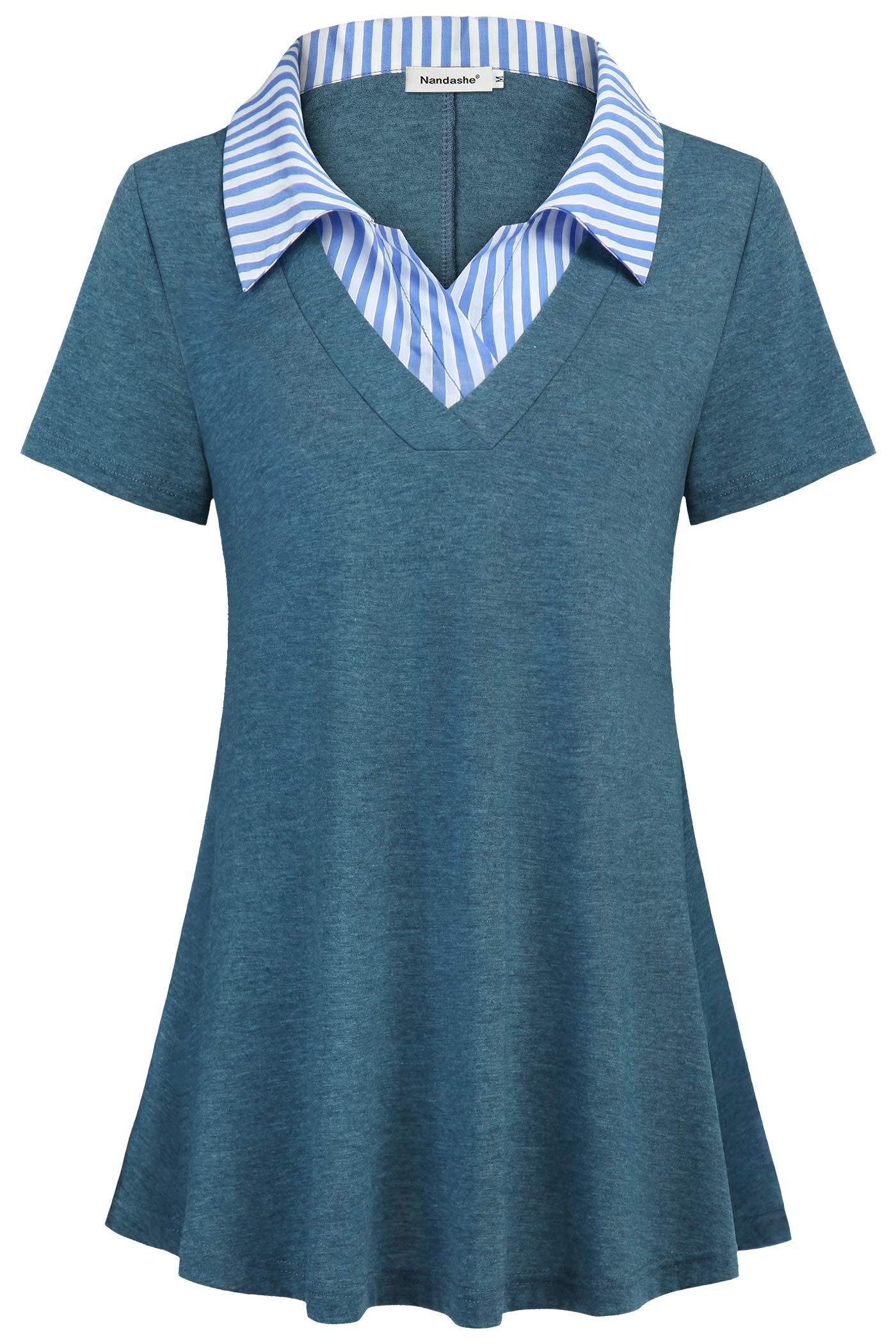 Nandashe Women's Short Sleeve Contrast Collar Shirt V Neck Blouses Office Tunics