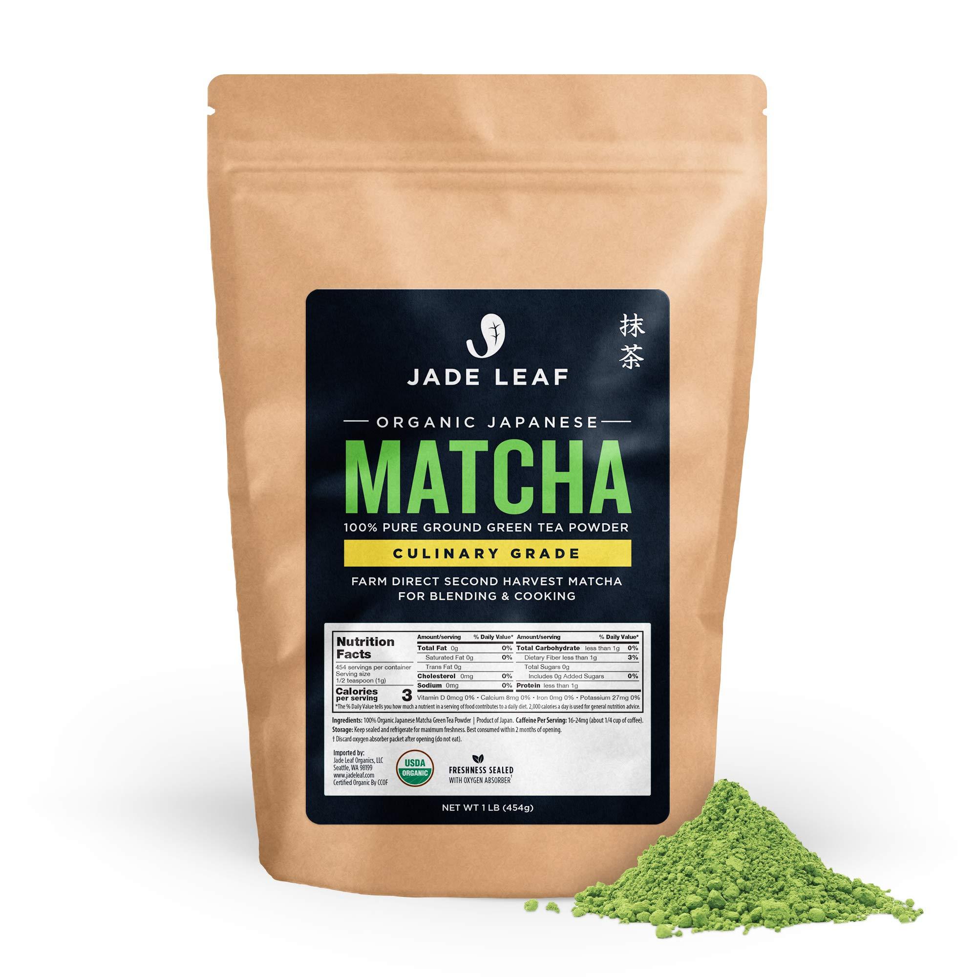Jade Leaf Matcha Green Tea Powder - Organic, Authentic Japanese Origin - Culinary Grade - Premium 2nd Harvest [16oz]