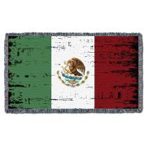 Pure Country Weavers Mexican Flag Blanket 100% Cotton Cobija Woven Statement Throw Large Soft Comforting Artistic Textured Desgin (61x36) Made in USA