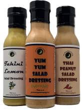 Premium   SALAD DRESSING   Variety 3 Pack   Tahini Lemon   Yum Yum   Thai Peanut   Low Cholesterol   Crafted in Small Batches with Farm Fresh Herbs for Premium Flavor and Zest