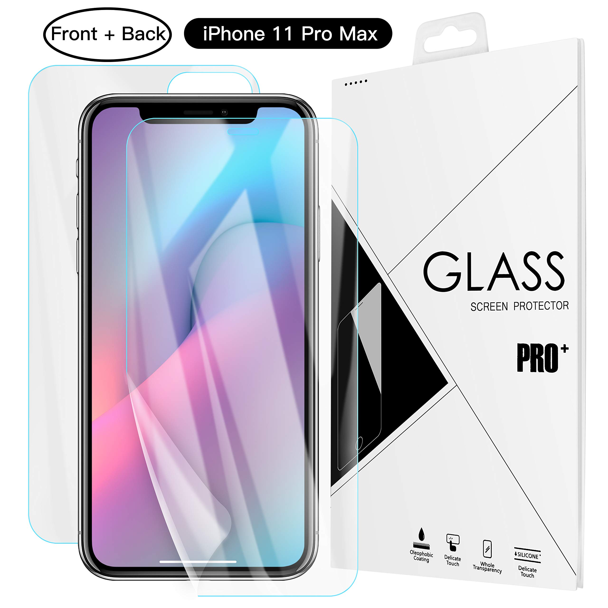 Screen Protector for iPhone 11 Pro Max, AICase (Front +Back) 0.26mm 4D Full Coverage Case Friendly High Sensitivity TPU Screen Cover for iPhone 11Pro Max6.5