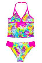 LAGUNA Girls Tropical Tie Dye Floral Mesh Ruffle Sport Two-Piece or One Piece Bathing Suit, UPF 50+