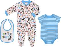 Mini B. by Baby Starters 3-Piece Layette Set with Sleep and Play, Bodysuit and Cloth Bib (Turquoise/Little Dude Animals, 0-3M)