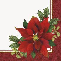 Holly Poinsettia Holiday Party Napkins, 16ct