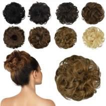 FESHFEN 100% Human Hair Bun Extension, Messy Bun Hair Piece Curly Hair Scrunchies Chignon Ponytail Extensions for Women Girls Updo Donut Hairpiece, Dark Strawberry Blonde