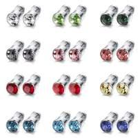ORAZIO 12 Pairs Stainless Steel CZ Stud Earrings for Women Girls Cubic Zirconia Cartilage Stud Earring Screwback 4mm 6mm 8mm