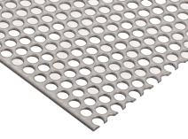 "304 Stainless Steel Perforated Sheet, Unpolished (Mill) Finish, Annealed, Staggered 0.1875"" Holes, 0.12"" Thickness, 11 Gauge, 24"" Width, 24"" Length, 0.3125"" Center to Center"