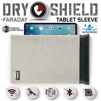 Mission Darkness Dry Shield Faraday Tablet Sleeve // Slim Waterproof Dry Bag for Tablets + RF Shielding Liner // Signal Blocking, Anti-Tracking, EMP Shield, Data Privacy, Electronic Device Security