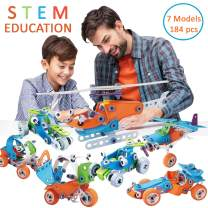 Toy To Enjoy STEM Learning Model Toy Set for Kids (184 Pieces) – Builds Car, Excavator, Bike, Airplane & Helicopter – DIY Building Kits & Construction Engineering Toys