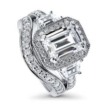 BERRICLE Rhodium Plated Sterling Silver Emerald Cut Cubic Zirconia CZ Halo Engagement Wedding Ring Set 4.43 CTW