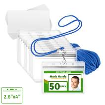 EcoEarth ID Badge Holder and Lanyard Set (Blue, 2.6x4 Inch, 50 Pack) Includes Pre-Cut Name Card Labels, Clear Waterproof Protector Sleeve & Lanyard