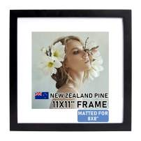 """Beyond Your Thoughts Wood + Real Glass (Hang/Stand) 11""""X11"""" Black Picture Photo Frame with Matted for 8""""X8"""" Photo for Wall and Table Top (1 Pack)"""