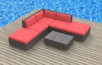 UrbanFurnishing.net 6a-Bali-coralred 6 Piece Modern Patio Furniture Sofa Sectional Couch Set