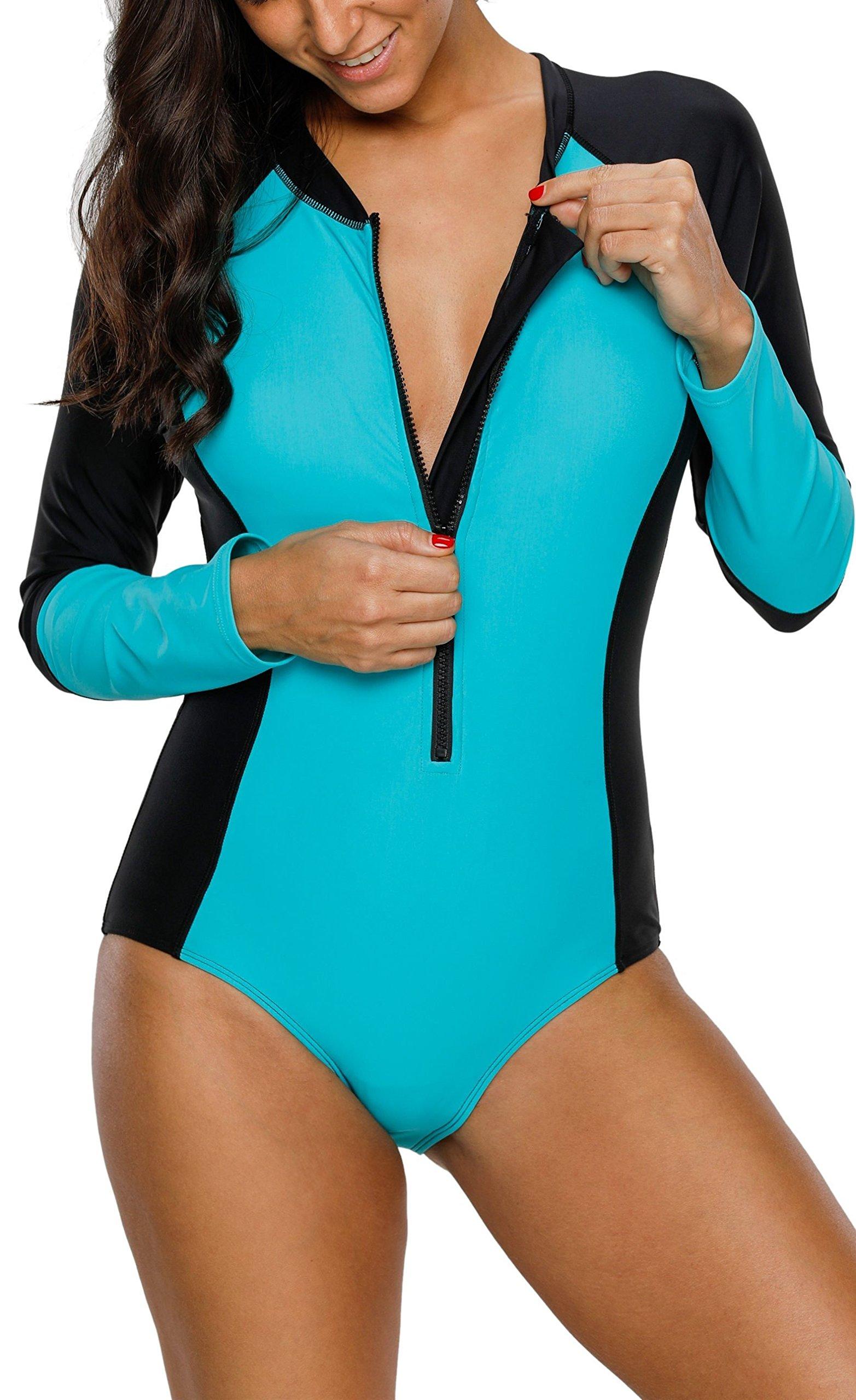 belamo Womens Zip Front Long Sleeve Rashguard Swimsuit UPF 50+ One Piece Swimwear