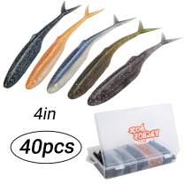 RUNCL Anchor Box - Paddle Tail Swimbaits, Soft Jerk Baits, 20/40/50/60pcs Soft Fishing Lures, Curved Tail Grubs - 3D Lifelike Eyes, Split/Boot/Curved/Straight/Thin Tail - 1/2/3/4/5in, Proven Colors