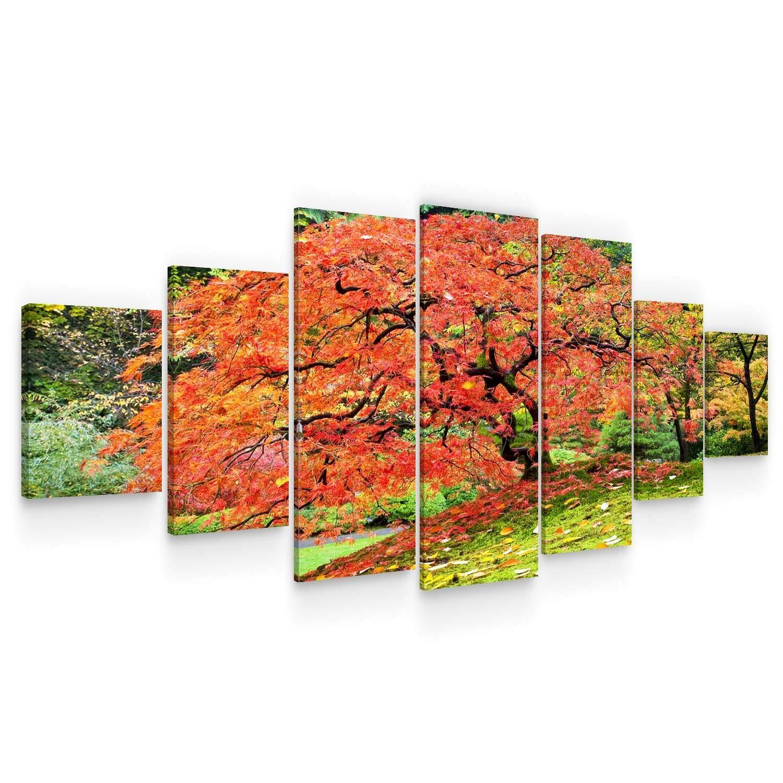 "Startonight Huge Canvas Wall Art - Japanese Maple Tree Fall - USA Large Home Decor - Dual View Surprise Artwork Modern Framed Wall Art Set of 7 Panels Total 40"" x 95"""