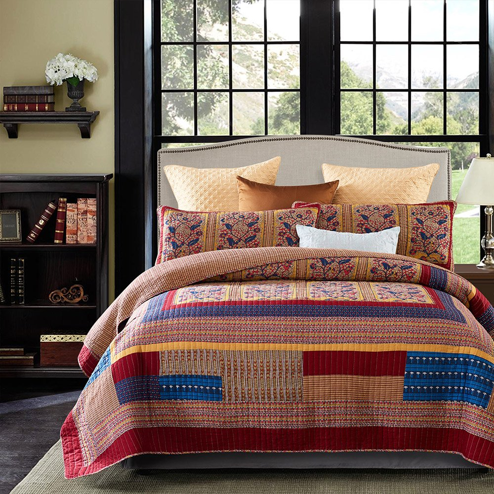Lecoda Cotton Bedspread Vintage Jacquard Style Bohemian King Comforter Reversible 3-Piece Patchwork Quilt Sets Bedspread Queen Size (Queen Size, Vintage)