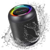 IPX7 Waterproof Speaker, DuoTen Portable Bluetooth 5.0 Wireless Speaker with RGB Light Show 360° Surround Sound TWS with Mic AUX Micro SD 24 Hours Playtime for Outdoors, Travel, Home, Party & Shower