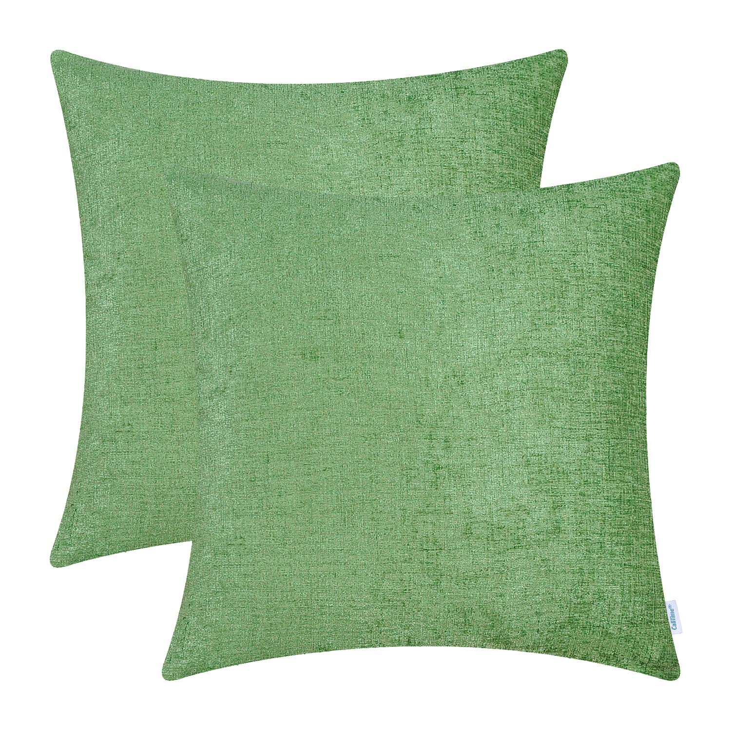 CaliTime Pack of 2 Cozy Throw Pillow Covers Cases for Couch Sofa Home Decoration Solid Dyed Soft Chenille 16 X 16 Inches Forest Green