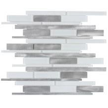 MTO0142   Modern Linear White Gray Glossy Glass Metal Mosaic Tile
