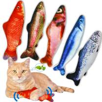 PJLJY 5Pcs Catnip Toy, Plush Fish Cat Toy, Cat Chew Toy, Catnip Filled Cartoon Fish with Bell Inside for Interactive Kitty Chew Toys Cat Teething Cat Exercise